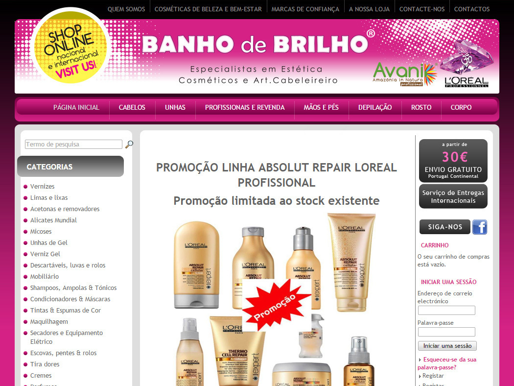 Banho do Brilho -  Online Store for cosmetics and products for aesthetic and hair care