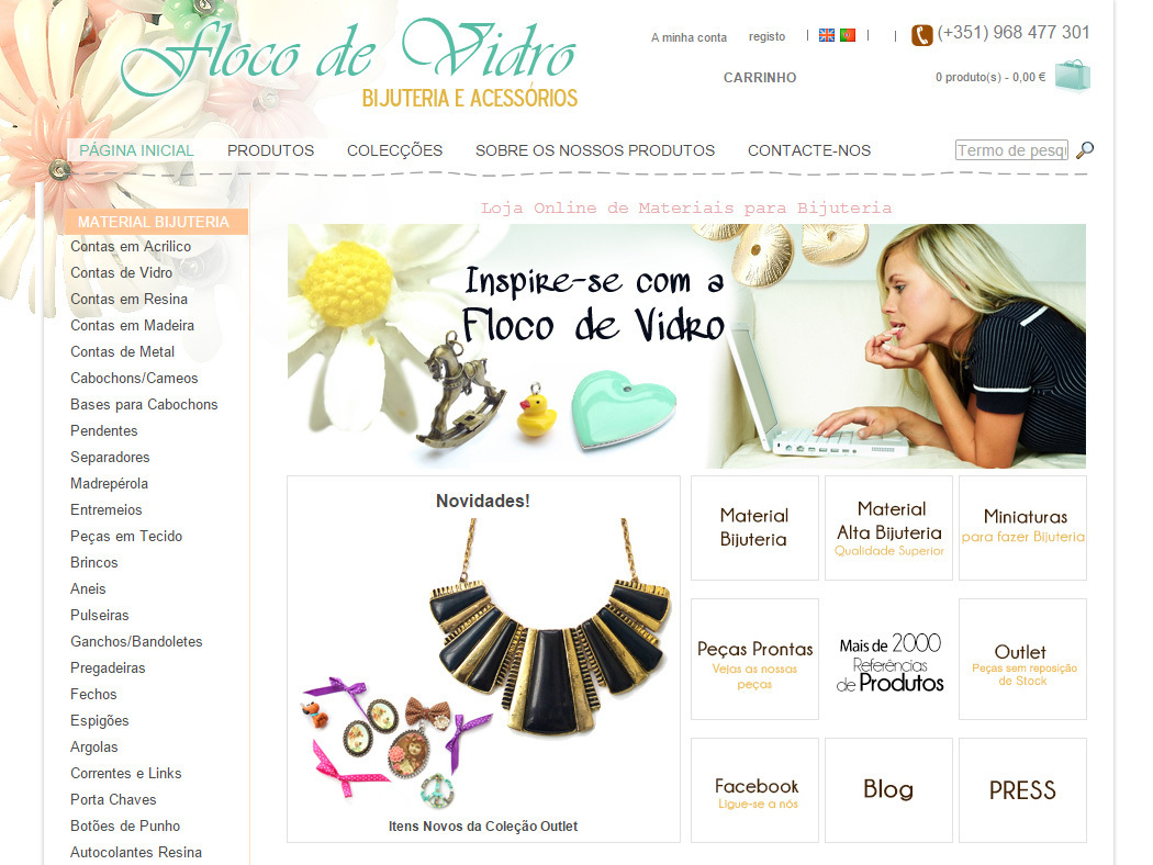 Floco de Vidro - Online-Shop für Materialien für originellen Schmuck